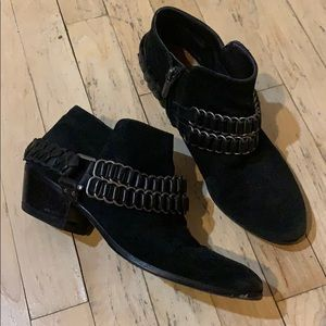 Sam Edelman suede booties with ankle chain